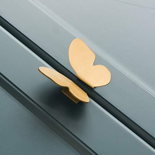 Ototon 1 par de tiradores de muebles de latón con forma de mariposas, pomos de puerta, decoración de cajón, accesorios dorados para armario, bricolaje