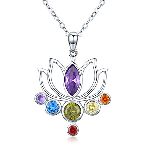 925 Sterling Silver Chakra Necklace Healing Lotus Flower Pendant Necklace Jewellery Birthday Mothers Day Gifts for Women,Yoga Lover
