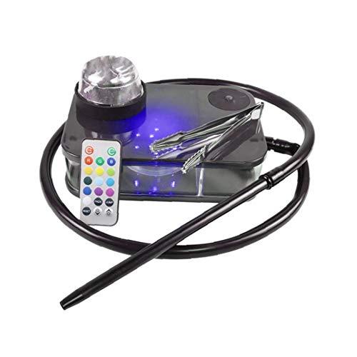 Moderne Acryl Huka Komplette Kit Portable Shisha Nargile Rauchen Wasserpfeife Mit Fernbedienung Lampe-licht-box (schwarz) Startseite Praktische Werkzeuge