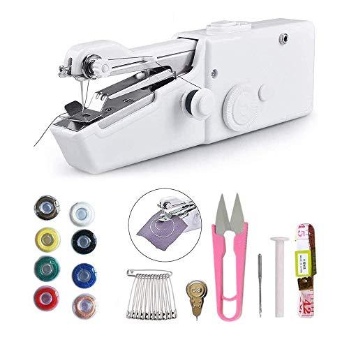 CDIYTOOL Máquina de coser de mano, mini máquina de coser portátil, eléctrica, portátil, de puntada a mano, reparación rápida, adecuada para niños y principiantes, cortinas de tela vaquera de cuero DIY