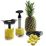 Lacor - 60393 - Cutter per ananas; Peeler con barca, Tagliapiastrelle 3 in 1, Includi contenitore in plastica senza BPA, Lavabile in lavastoviglie, Acciaio inossidabile 18/10