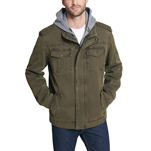 Levi's Men's Washed Cotton Military Jacket with Removable Hood (Standard and Big & Tall), Olive, X-Large