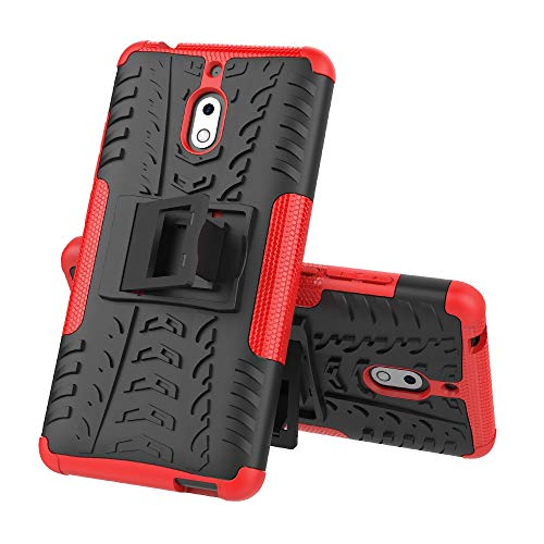 La selección de Cici La Caja del teléfono del neumático Textura de TPU + PC a Prueba de Golpes for Nokia 2.1, con Soporte (Negro) (Color : Red)