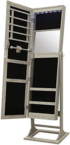 Abington Lane Standing Jewelry Armoire - Lockable Cabinet Organizer Jewelry Storage with Full Length Mirror and LED Lights - (Heathered Wood Finish)