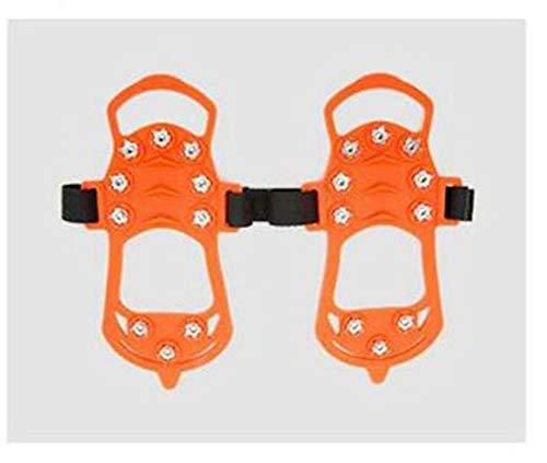 10 Dientes Deportes Antideslizantes Crampones De Hielo Tacos De Zapatos Empuñaduras De Botas Crampones Pico Tabla De Nieve para Esquiar Senderismo Escalada Crampones De Hielo Naranja