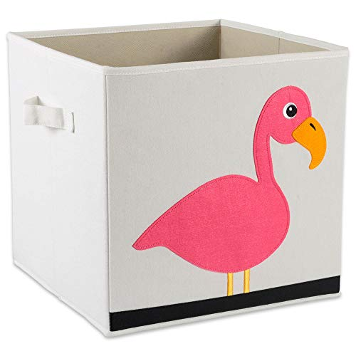 E-Living Store Collapsible Storage Bin Cube for Bedroom, Nursery, Playroom and More 13x13x13 - Flamingo