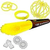 NEON FUN 100 barras luminosas DE MEZCLA set completo incl. 100 x conectores TopFlex, 2 x conectores triples y 2 x conectores circulares, Colores:Amarillo