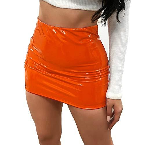 FeMereina Sexy Heller Lederhüftrock für Damen, Figurbetonter Dünner Micro-Minirock für Abendliche Party-Clubwear (Orange, S)