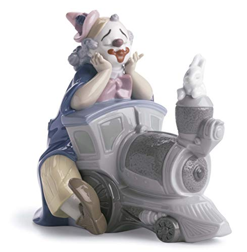 LLADRÓ Circus Express Clown Figurine. Porcelain Clown Figure.