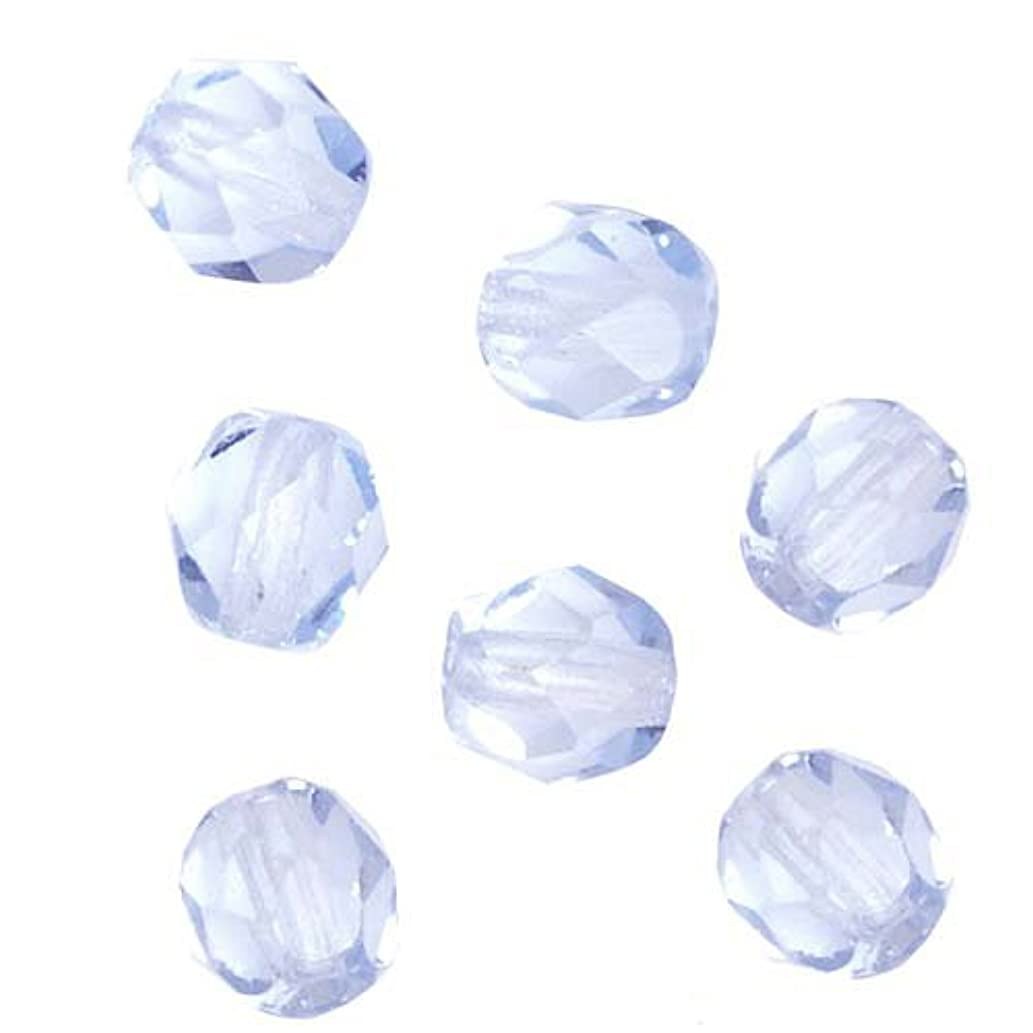 Czech Fire Polish Glass Beads 6mm Round LIGHT SAPPHIRE Blue (25)