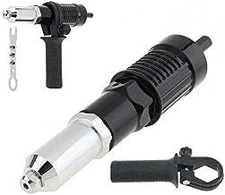 ZHTY Adaptador de Pistola de remachado eléctrico de Acero aleado con Cabeza de Remache de 2.4/3.2/4.0/4.8 mm de diámetro y Llave de Mango para Taladro eléctrico (Negro)