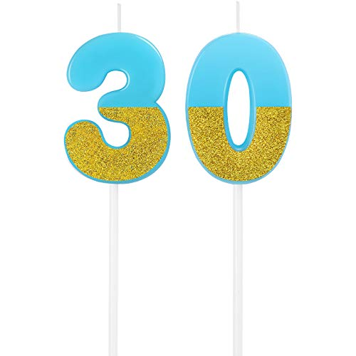 30th Birthday Candles Cake Numeral Candles Happy Birthday Glitter Cake Candles Topper Decoration for Birthday Party Wedding Anniversary Celebration (Blue)