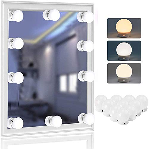 LED Vanity Mirror Light,Hollywood Style Mirror Light, with 10 Dimmable Bulbs for Makeup Dressing Table, 3 Color Modes/NiteCore Extreme, USB Makeup Mirrior Strip Lights Kit