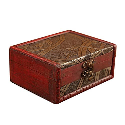 Jewelry Box Vintage Wood Handmade Box with Mini Metal Lock for Storing Jewelry T, Home & Garden, for New Year (Khaki)