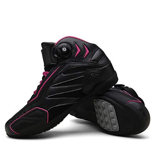 F-DYZS Botas Moto Racing Estilista Corto Bota del Tobillo, Zapatos de rotación de la Motocicleta Campo a través, Zapatos Blindados a Prueba de Agua Botas de Cuero de protección,C,42