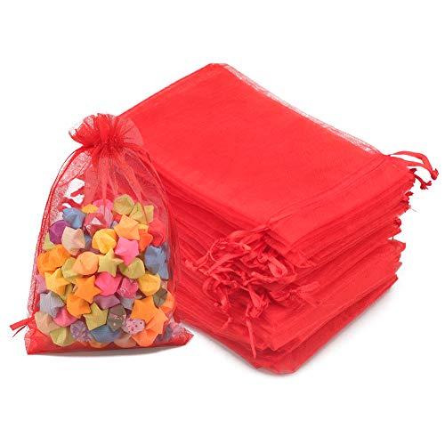 100pz Sacchetti Regalo in Organza Grandi 10x15cm Borse Organza con Coulisse, per Matrimonio Festa Favore, Caramella, Gioielli (Rosso)