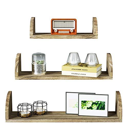 SRIWATANA Floating Shelves Wall Mounted, Wood Shelves Wall Bookshelves Set of 3 for Bedroom, Living Room, Bathroom, Kitchen - Carbonized Black
