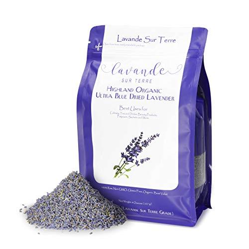 8 Ounces, Organic Culinary Dried Lavender Buds - Lavandula Dentata - Highland Grow Ultra Blue Premium Grade - Gluten-Free, Non-GMO - Perfect for Baking, Lemonade, Salt - by Lavande Sur Terre