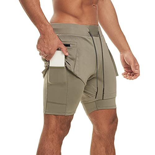 MUYOGRT Pantalones cortos de deporte para hombre, para verano, 2 en 1, de secado rápido, para correr, fitness, con bolsillos integrados Verde militar. XXXL
