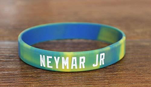 ZWH Jugadores De Fútbol Pulsera De Silicona, Artículos De Regalo Movimiento Pulsera Brazalete Pulsera De La Bola Neymar Da Silva (Color : Blue Yellow)