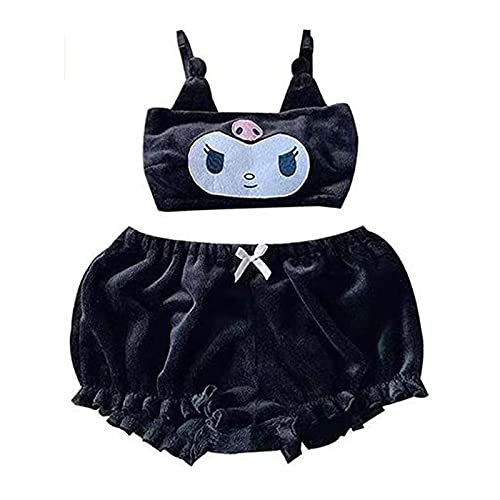 Niedliches Pyjama-Set für Damen und Mädchen, Kawaii-Anime-Design, niedliches Plüsch-Top und Shorts, Nachtwäsche, Schwarz , 46