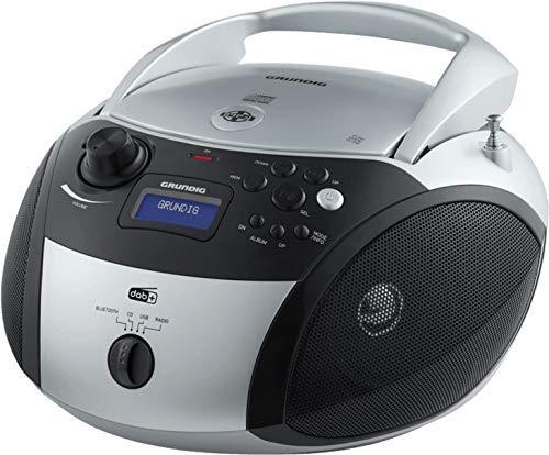 Grundig GRB 4000 BT DAB+ Tragbare Radio Boombox mit Bluetooth und DAB+ Empfang Silber/Schwarz