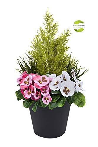 Greenbrokers Limited Künstlicher Terrassen-Übertopf, 60 cm, mit rosa und weißen Stiefmütterchen und Konifer-/Zedernbaum-Formschnitt, in schwarzem Topf