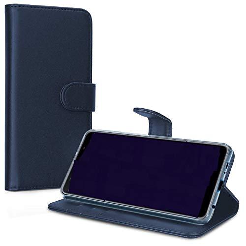 Compatible con LG K4 (2017) M160 / LG K8 (2017) (M200N) Funda Cover Stand Libro Flip Magnética Gel TPU Protección Tarjetero (Azul)