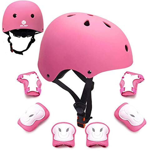 GLAF ヘルメット こども用 キッズ プロテクター セット 自転車 ヘルメット 9-12歳 頭囲55~57cm 子供用 保護具 超高耐衝撃性 耐久性 軽量 サイクリング スケートボード ローラースケート (ピンク, M(55CM~57CM))