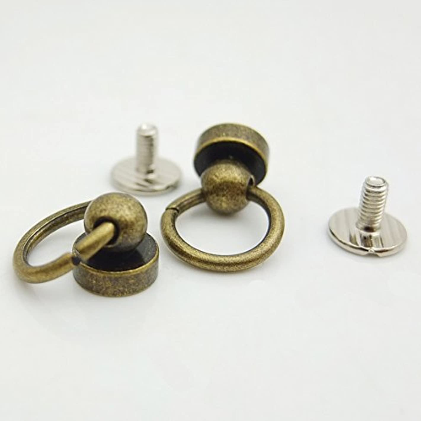 Bluemoona 50 Sets - Plated Brass Head Button O-ring 3/8