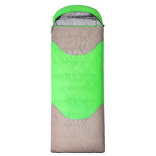 Sac de couchage extérieur adulte enveloppe blanc duvet de canard ultra léger chaud et portable camping voyage peut être cousu double voyage extérieur, Vert/gris