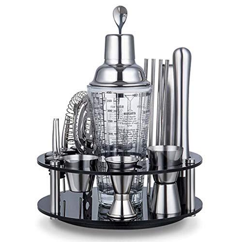 Conjunto De Coctelera Martini Mezclador Estante De Almacenamiento Giratorio Kit De Preparación De Cóctel De Acero Inoxidable Brillante Conjuntos De Vasos Mezclados Con Báscula Para Barman Famiar