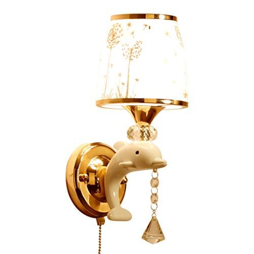 Aveo Apliques Creativa Lámpara de Pared LED Personalidad Dolphin Dormitorio de Noche Fondo Simple Modern Pared niños Ligero de la Pared Aplique (Color : White, tamaño : A)