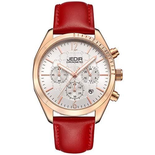 BUREI Orologi cronografo da uomo con cinturino in vera pelle con data...