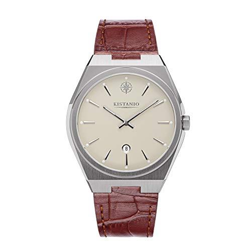 Kistanio Milano SI-CR-L-BR - Reloj de pulsera para hombre con correa de piel auténtica, 10 ATM, cristal de zafiro, color crema y marrón