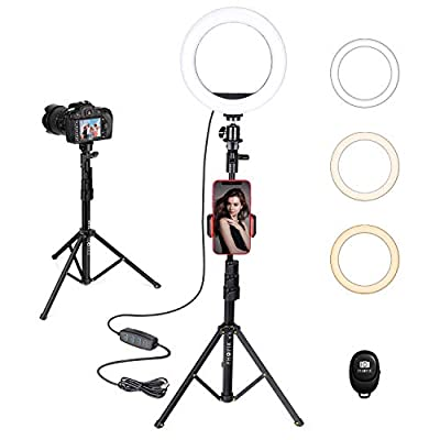 """PHOPIK 8"""" Selfie Ring Light with Tripod Stand & Cell Phone Holder for Live Stream/Makeup, YouTube Video/Photography/Tiktok,Dimmable LED Camera Ringlight with 3 Light Modes & 11 Brightness Levels by PHOPIK"""