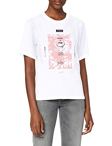Hurley W FLORAL SPIKE PERFECT CREW T-Shirt Femme Blanc FR : S (Taille Fabricant : S)