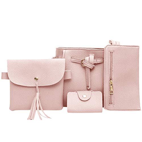 Womens Leather Bag, 4pcs Shoulder Messenger Bag Shopping Daily Handbag Wallet Coin Purse Satchels Card Package (Pink)