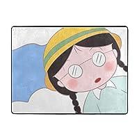 ちび丸子ちゃん カーペット フランネル 滑り止めマット 防ダニ 抗菌 防臭 リビング 寝室 オールシーズン対応(120×160cm)