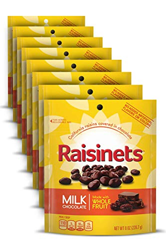Raisinets Milk Chocolate Covered Raisins, 8 Ounce Reclosable Bag, Bulk Ferrero Candy, Christmas Stocking Stuffers (Pack of 8)