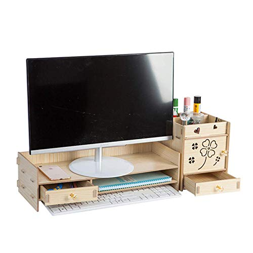 Monitor Stand Riser Multi-Function Desktop Monitor Stand Computer Laptop Screen Riser Wood Shelf Desk Storage Holder Desk Monitor Stand (Size:485 * 200 * 230mm; Color:White)