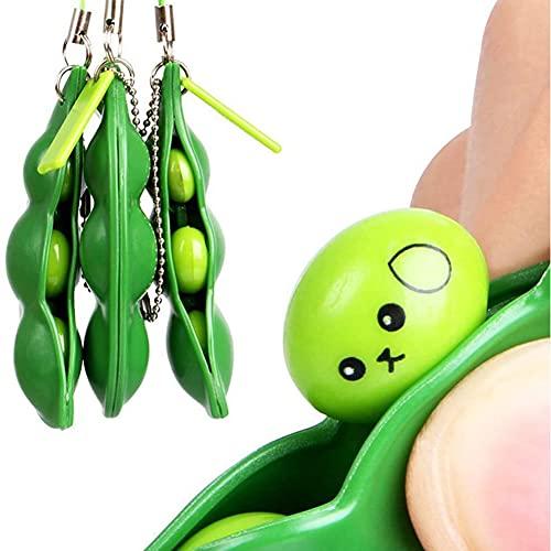 HUALAI 3Pcs Fidget Bean Toy, Squeeze-a-Bean Puchi Puti Mugen Edamame Keychain Keyring Stress Relieving Chain Toys (A)