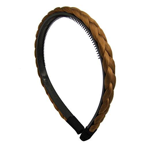MS801M-29 – Serre-tête pour cheveux 1 cm avec dents tressées cheveux synthétiques couleurs naturelles – Serre-tête pour cheveux (châtain clair)