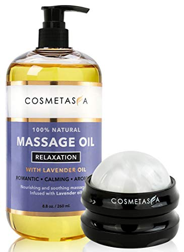 Lavender Relaxation Massage Oil with Massage Roller Ball- 100% Natural Blend of Spa Quality Oils for Romantic, Calming, Aromatic, Soothing Massage Therapy 8.8 oz by Cosmetasa
