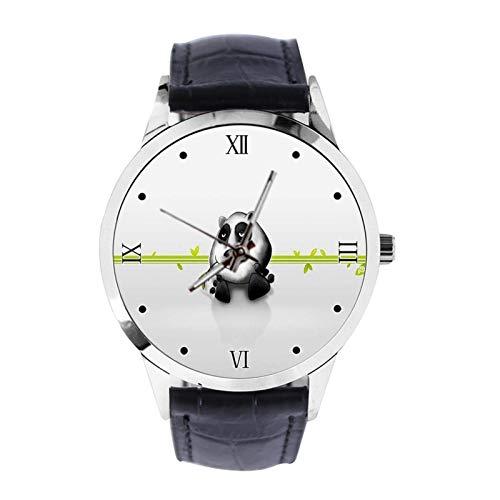 Cool Panda - Reloj de pulsera unisex analógico de cuarzo con correa de cuero para niñas y niños