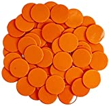 WESTRONG 100 Pieces Counters Counting Chips 1 Inch Opaque Plastic Learning Round Counters Bingo Chip Disks Markers Mini Poker Chips for Math Practice and Bingo Chips Game Tokens(Orange)