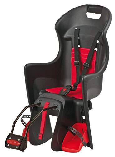 P4B | Fahrradkindersitz hinten - bis 22 Kg in Schwarz/Rot | Für Fahrräder mit 26-28 Zoll | Ergonomisch geformt für hohen Sitzkomfort | Fahrrad Kindersitz mit Rahmenmontage (Schwarz/Rot)
