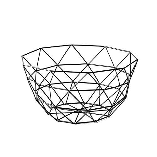 Corbeille à fruits créative en métal pour le bureau, le comptoir de cuisine, les armoires, le garde-manger, la salle de bain 26x14x13.5 CM Noir