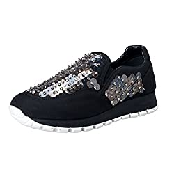 Black Sequin Decorated Moccasins Loafers Slip On