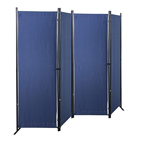 GOJOOASIS Paravent 4 Teilig Raumteiler 170 x 220 cm Trennwand Stellwand Sichtschutzwand(Blau)